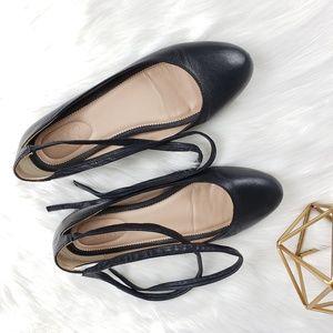 Franco Sarto Blake Leather Lace-Up Ballet Flats